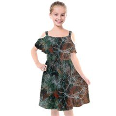 Aerial Photography Of Green Leafed Tree Kids  Cut Out Shoulders Chiffon Dress