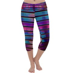 Blue And Pink Wallpaper Capri Yoga Leggings