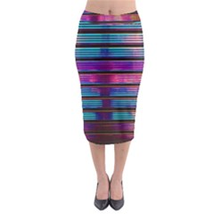 Blue And Pink Wallpaper Midi Pencil Skirt