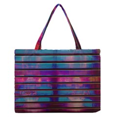 Blue And Pink Wallpaper Zipper Medium Tote Bag