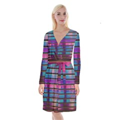 Blue And Pink Wallpaper Long Sleeve Velvet Front Wrap Dress