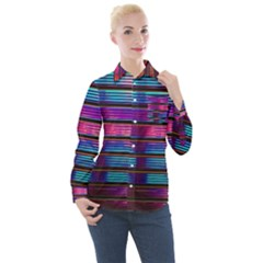 Blue And Pink Wallpaper Women s Long Sleeve Pocket Shirt