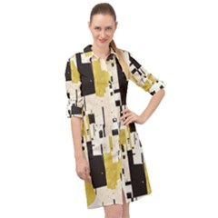 Abstract Scraps Yellow Long Sleeve Shirt Dress