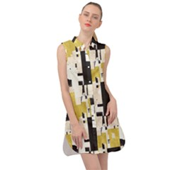 Abstract Scraps Yellow Sleeveless Shirt Dress by JoneienLeahCollection