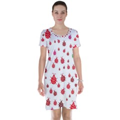 Beetle Animals Red Green Flying Short Sleeve Nightdress