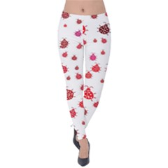 Beetle Animals Red Green Flying Velvet Leggings