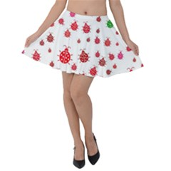 Beetle Animals Red Green Flying Velvet Skater Skirt