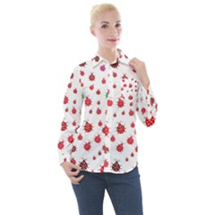Beetle Animals Red Green Flying Women s Long Sleeve Pocket Shirt