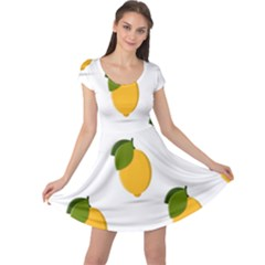 Lemon Fruit Cap Sleeve Dress