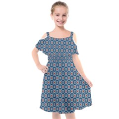 Geometric Tile Kids  Cut Out Shoulders Chiffon Dress by Mariart