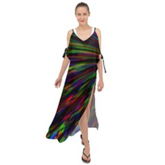 Explosion Fireworks Rainbow Maxi Chiffon Cover Up Dress
