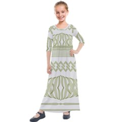 Guilloche Border Kids  Quarter Sleeve Maxi Dress