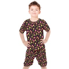 Flowers Roses Brown Kids  Tee And Shorts Set by Bajindul