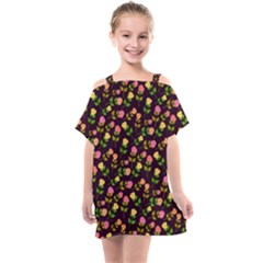 Flowers Roses Brown Kids  One Piece Chiffon Dress by Bajindul