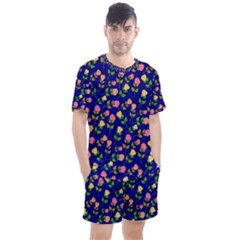Flowers Roses Blue Men s Mesh Tee And Shorts Set