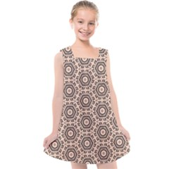Texture Tissue Seamless Plaid Kids  Cross Back Dress by HermanTelo