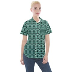 Texture Tissue Seamless Women s Short Sleeve Pocket Shirt