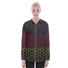 Germany Flag Hexagon Womens Long Sleeve Shirt by HermanTelo