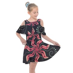Flower Abstract Kids  Shoulder Cutout Chiffon Dress by HermanTelo