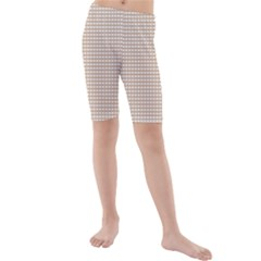 Gingham Check Plaid Fabric Pattern Grey Kids  Mid Length Swim Shorts