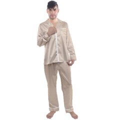 Gingham Check Plaid Fabric Pattern Grey Men s Satin Pajamas Long Pants Set