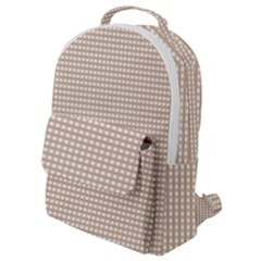 Gingham Check Plaid Fabric Pattern Grey Flap Pocket Backpack (small)