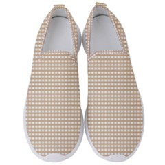 Gingham Check Plaid Fabric Pattern Grey Men s Slip On Sneakers