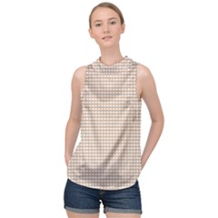 Gingham Check Plaid Fabric Pattern Grey High Neck Satin Top