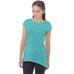 Gingham Plaid Fabric Pattern Green Cap Sleeve High Low Top