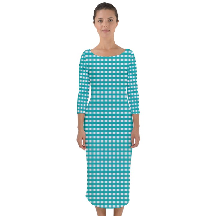 Gingham Plaid Fabric Pattern Green Quarter Sleeve Midi Bodycon Dress