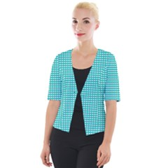 Gingham Plaid Fabric Pattern Green Cropped Button Cardigan