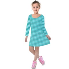 Gingham Plaid Fabric Pattern Green Kids  Long Sleeve Velvet Dress by HermanTelo