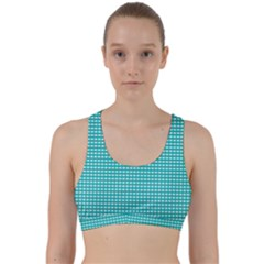 Gingham Plaid Fabric Pattern Green Back Weave Sports Bra