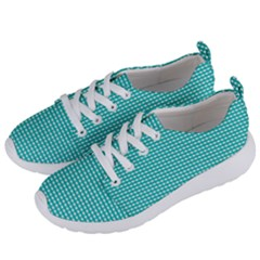 Gingham Plaid Fabric Pattern Green Women s Lightweight Sports Shoes by HermanTelo