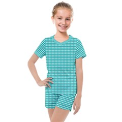 Gingham Plaid Fabric Pattern Green Kids  Mesh Tee And Shorts Set