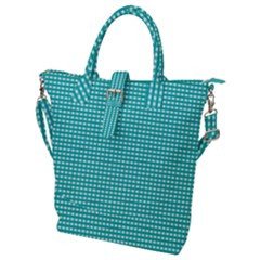 Gingham Plaid Fabric Pattern Green Buckle Top Tote Bag