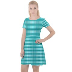 Gingham Plaid Fabric Pattern Green Cap Sleeve Velour Dress