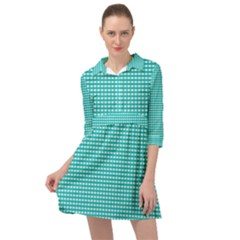 Gingham Plaid Fabric Pattern Green Mini Skater Shirt Dress