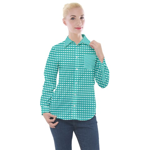 Gingham Plaid Fabric Pattern Green Women s Long Sleeve Pocket Shirt by HermanTelo