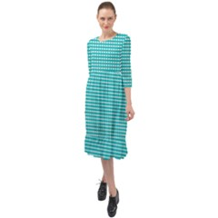 Gingham Plaid Fabric Pattern Green Ruffle End Midi Chiffon Dress