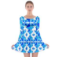 Cubes Abstract Wallpapers Long Sleeve Skater Dress