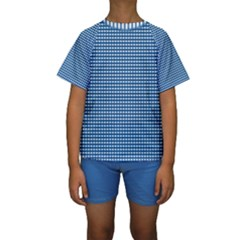Gingham Plaid Fabric Pattern Blue Kids  Short Sleeve Swimwear by HermanTelo
