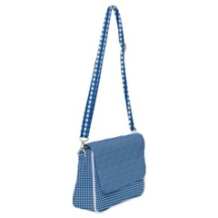 Gingham Plaid Fabric Pattern Blue Shoulder Bag With Back Zipper by HermanTelo