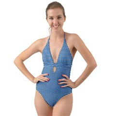Gingham Plaid Fabric Pattern Blue Halter Cut Out One Piece Swimsuit