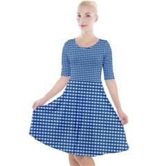 Gingham Plaid Fabric Pattern Blue Quarter Sleeve A-line Dress