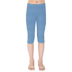 Gingham Plaid Fabric Pattern Blue Kids  Capri Leggings  by HermanTelo