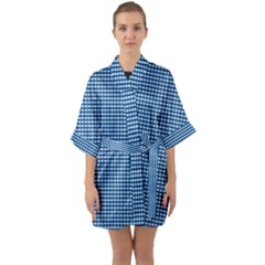 Gingham Plaid Fabric Pattern Blue Quarter Sleeve Kimono Robe by HermanTelo