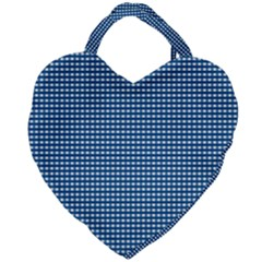 Gingham Plaid Fabric Pattern Blue Giant Heart Shaped Tote