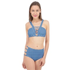 Gingham Plaid Fabric Pattern Blue Cage Up Bikini Set
