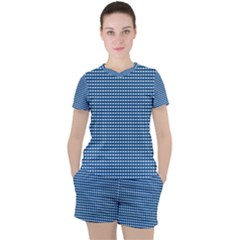 Gingham Plaid Fabric Pattern Blue Women s Tee And Shorts Set by HermanTelo